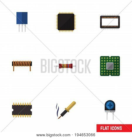 Flat Icon Appliance Set Of Transducer, Repair, Resistance And Other Vector Objects. Also Includes Microprocessor, Coil, Resistance Elements.