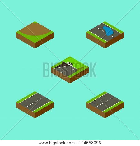 Isometric Road Set Of Plash, Subway, Cracks And Other Vector Objects. Also Includes Single, Earthquake, Subway Elements.