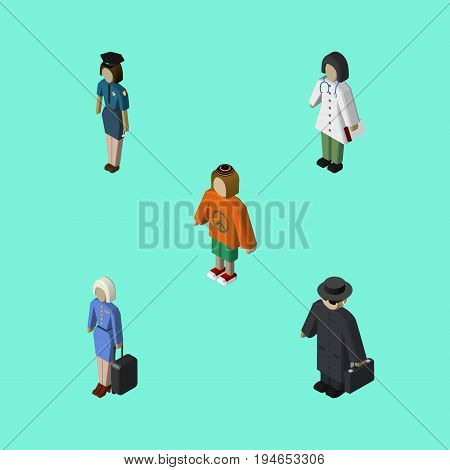 Isometric People Set Of Hostess, Detective, Lady And Other Vector Objects. Also Includes Lady, Policewoman, Stewardess Elements.