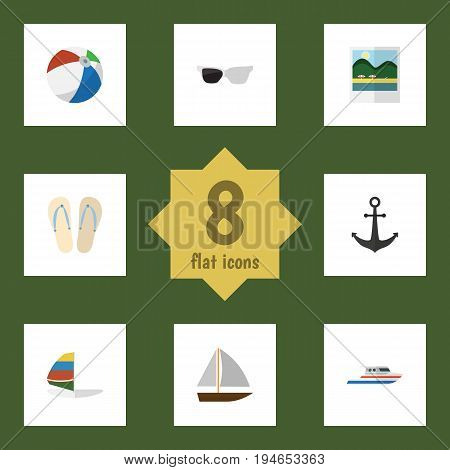 Flat Icon Summer Set Of Boat, Surfing, Beach Sandals Vector Objects. Also Includes Sailboard, Boat, Hook Elements.