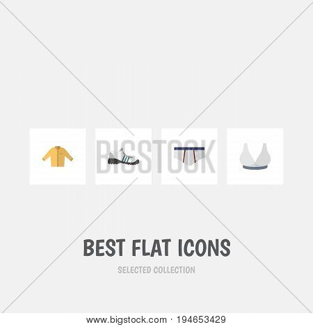 Flat Icon Dress Set Of Brasserie, Banyan, Sneakers And Other Vector Objects. Also Includes Breast, Banyan, Underclothes Elements.
