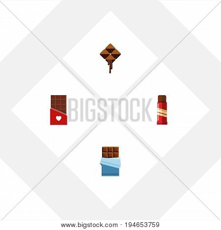 Flat Icon Bitter Set Of Chocolate, Bitter, Sweet And Other Vector Objects. Also Includes Sweet, Chocolate, Confection Elements.