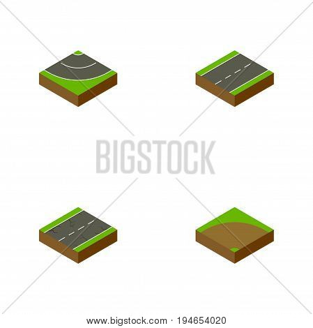 Isometric Road Set Of Road, Sand, Cracks Vector Objects. Also Includes Single, Driveway, Lane Elements.