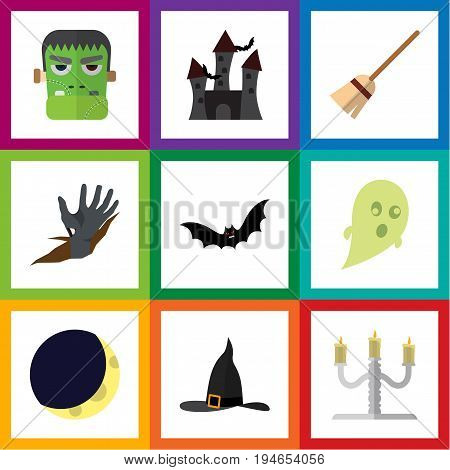 Flat Icon Halloween Set Of Superstition, Crescent, Phantom And Other Vector Objects. Also Includes Bat, Castle, Halloween Elements.