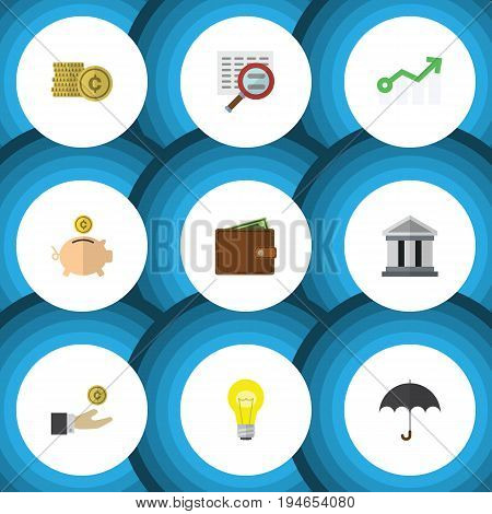 Flat Icon Gain Set Of Growth, Cash, Bank And Other Vector Objects. Also Includes Arrow, Money, Magnifier Elements.