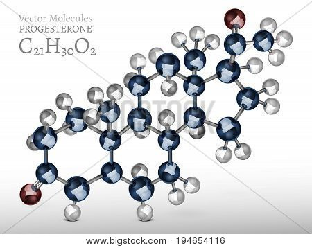 Progesterone molecule structure in 3D style.Vector illustration an metallic blue and silver colours. C21H30O2 image on a light grey background. Scientific, educational and popular-scientific concept.