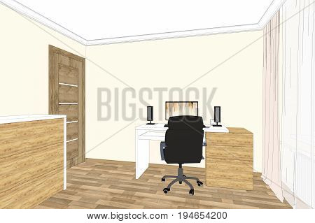 3D illustration. Home office interior and design. Home office sketch.