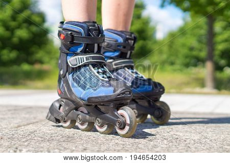 Roller skating in summer. Blue rollerskating on tarmac and asphalt on sunny day. Inline skating on asphalt in the city. Fun free time activity. Nature, trees and woods in the background.