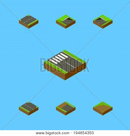 Isometric Way Set Of Sand, Underground, Rightward Vector Objects. Also Includes Incomplete, Subway, Right Elements.