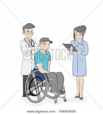 Doctors stand near a person in a wheelchair. Medical subjects. vector illustration.