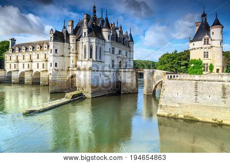 Amazing Chenonceau royal castle on the Loire river Loire valley France Europe
