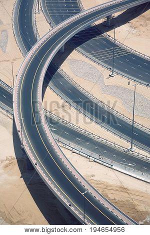 Highways crossing, elevated view