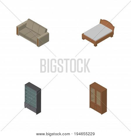 Isometric Design Set Of Bedstead, Couch, Cabinet And Other Vector Objects. Also Includes Cabinet, Furniture, Settee Elements.
