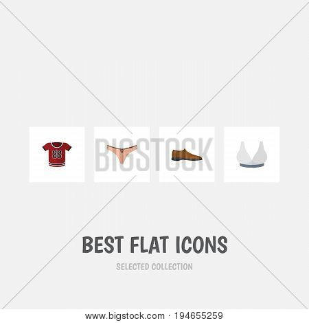 Flat Icon Clothes Set Of Lingerie, Brasserie, T-Shirt And Other Vector Objects. Also Includes Footware, Blouse, Man Elements.