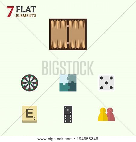 Flat Icon Play Set Of Arrow, Bones Game, People And Other Vector Objects. Also Includes Arrow, Jigsaw, Enigma Elements.