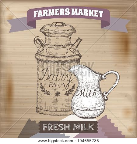 Vintage farmers market label with metal milk can and pitcher. Placed on wooden texture. Includes hand drawn elements.