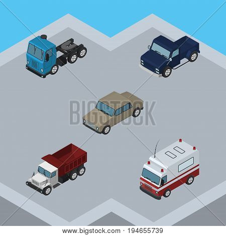 Isometric Car Set Of Suv, First-Aid, Truck And Other Vector Objects. Also Includes Aid, Suv, Motor Elements.