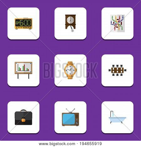Flat Icon Oneday Set Of Briefcase, Television, Boardroom And Other Vector Objects. Also Includes Alarm, Time, Presentation Elements.