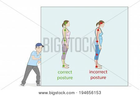 The man pushes the drawing. Correct alignment of human body in standing posture for good personality and healthy of spine and bone. Health care and medical illustration