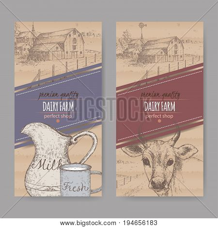 Two dairy labels with farmhouse, cow, color milk pitcher and mug. Placed on cardboard texture. Includes hand drawn elements.