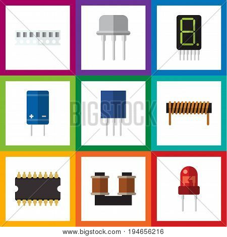 Flat Icon Device Set Of Transistor, Coil Copper, Microprocessor And Other Vector Objects. Also Includes Semiconductor, Resist, Fiildistor Elements.
