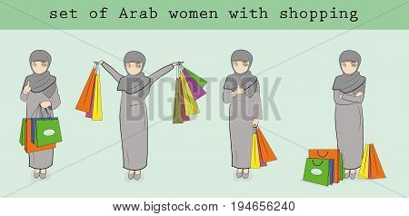a set of Arab women with shopping. vector illustration.