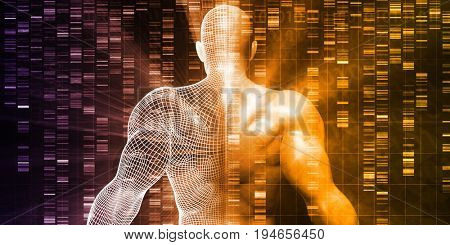 DNA Sequencing or Sequence as a Science Abstract 3D Render poster