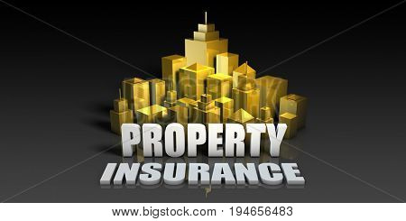 Property Insurance Industry Business Concept with Buildings Background 3D Render