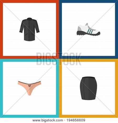 Flat Icon Dress Set Of Uniform, Stylish Apparel, Lingerie And Other Vector Objects. Also Includes Kimono, Apparel, Clothes Elements.