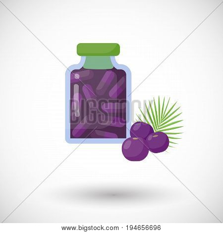Acai berries capsules vector flat icon Flat design of superfood or healthy eating object with round shadow isolated on the white background cute vector illustration with reflections