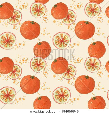 Seamless pattern with fresh oranges. Watercolor painting of citrus fruits. Sketchy hand drawn elements for repeatable food background.