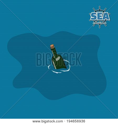 Bottle in water in isometric style. Pirate game. 3d image of sea message for help. Vector illustration