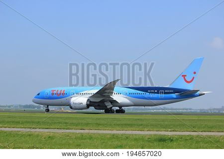 Amsterdam the Netherlands - May 6th 2017: PH-TFK TUI Airlines Netherlands Boeing 787-8 Dreamliner takeoff from Polderbaan runway Amsterdam Schiphol Airport