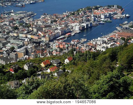 Impressive landscape of Bergen's harbor and the hillside residential area, Bergen, Norway