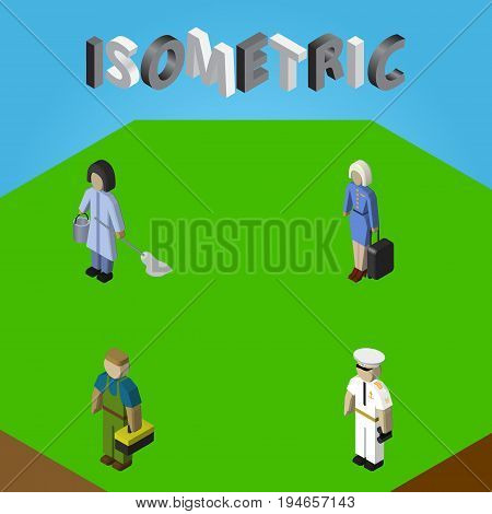Isometric People Set Of Plumber, Seaman, Hostess And Other Vector Objects. Also Includes Mariner, Cleaner, Worker Elements.