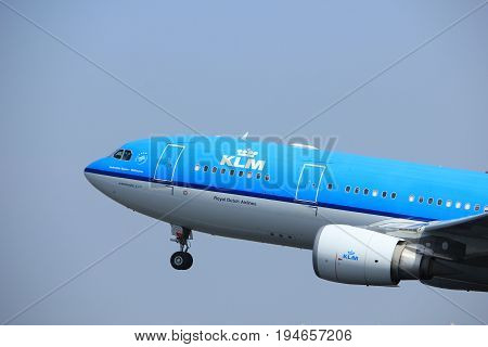 Amsterdam the Netherlands - May 6th 2017: PH-AOF KLM Royal Dutch Airlines Airbus A330 takeoff from Polderbaan runway Amsterdam Schiphol Airport