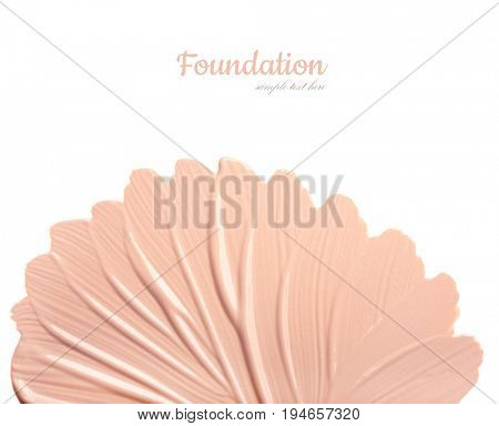 Conceptual flower from concealer smears. Isolated on white background
