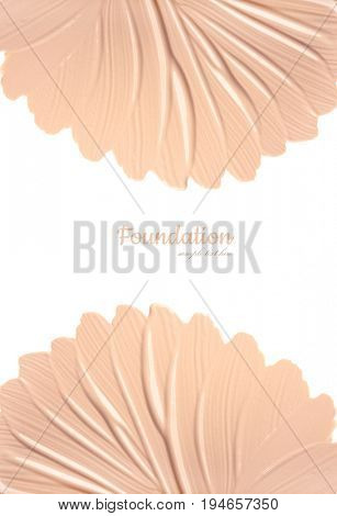 Face foundation. Flower from Smears of Facial Toning Cream. Isolated on white background