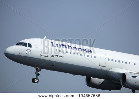 Amsterdam the Netherlands - May 6th 2017: D-AISX Lufthansa Airbus A321 takeoff from Polderbaan runway Amsterdam Schiphol Airport