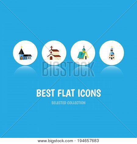 Flat Icon Church Set Of Church, Architecture, Religion And Other Vector Objects. Also Includes Religion, Structure, Church Elements.