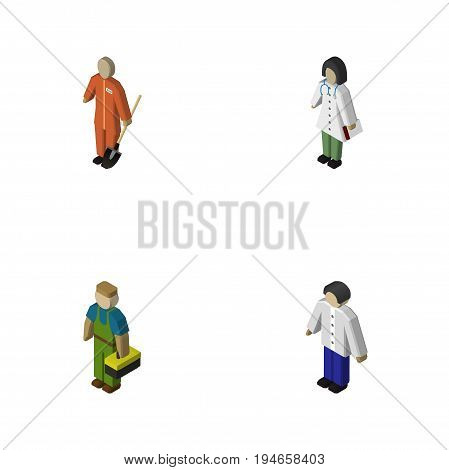 Isometric Human Set Of Cleaner, Doctor, Plumber And Other Vector Objects. Also Includes Nurse, Male, Plumber Elements.