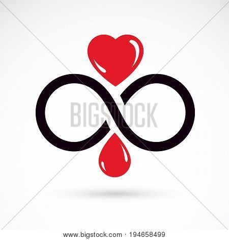 Vector illustration of heart shape and infinity symbol. Hematology theme medical treatment design. Cardiology medical care vector emblem for use in pharmacy.