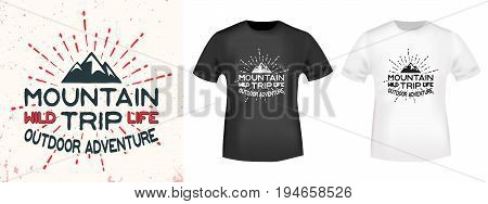 T-shirt print design. Mountain vintage stamp and t shirt mockup. Printing and badge applique label t-shirts, jeans, casual wear. Vector illustration.