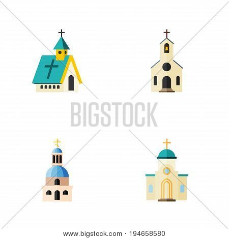Flat Icon Church Set Of Religious, Church, Building And Other Vector Objects. Also Includes Building, Church, Religious Elements.