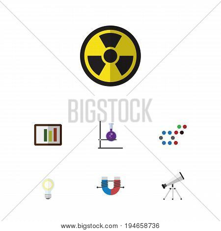 Flat Icon Knowledge Set Of Attractive Force, Lightbulb, Molecule And Other Vector Objects. Also Includes Bulb, Column, Test Elements.
