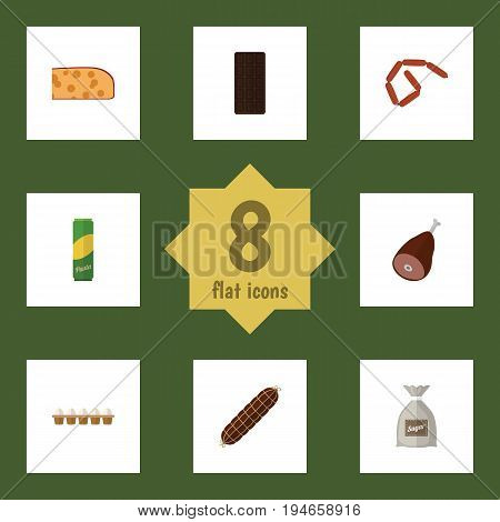 Flat Icon Meal Set Of Cheddar Slice, Confection, Spaghetti And Other Vector Objects. Also Includes Smoked, Sugar, Ham Elements.