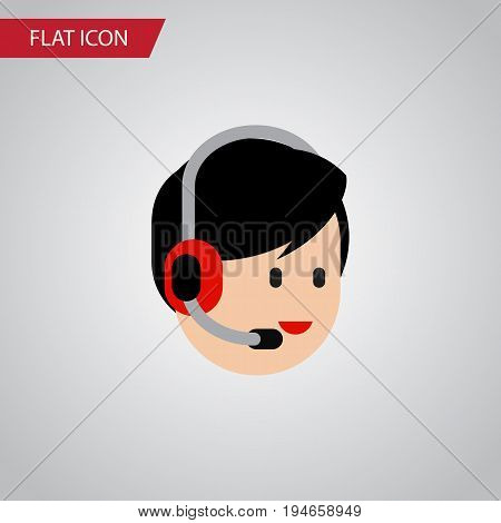 Isolated Help Flat Icon. Operator Vector Element Can Be Used For Help, Operator, Hotline Design Concept.