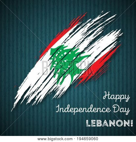 Lebanon Independence Day Patriotic Design. Expressive Brush Stroke In National Flag Colors On Dark S