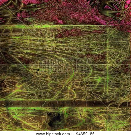 Colorful vintage background, grunge texture with scratches, stains and different color patterns: yellow (beige); purple (violet); pink; green; brown; gray
