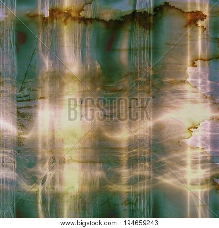 Aged background or texture. Vintage graphic composition with grunge style elements and different color patterns: yellow (beige); green; brown; gray; blue; white